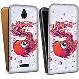 HTC Desire 510 Tasche Hülle Flip Case Fisch Goldfisch Comic