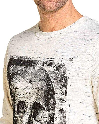 Deeluxe 74 - Pull homme beige imprimé tête de mort Ecru