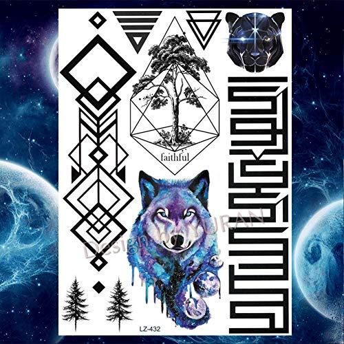 GHHCG Fox Wolf Tiere Körper Arm Wald Tattoos Aufkleber Geometrische Tatto Temporäre Make-up Big Tattoo Papier, Glz432