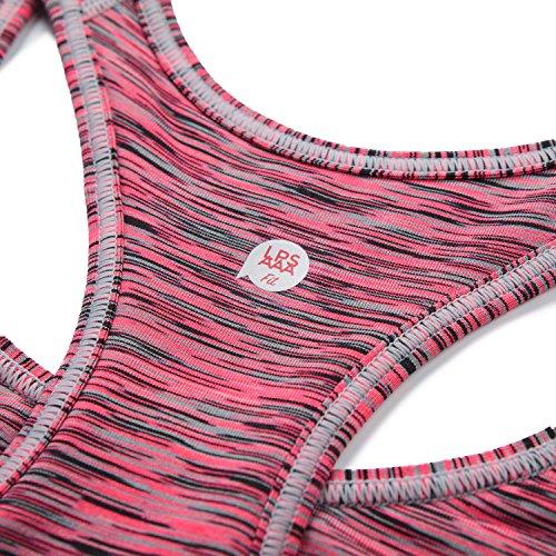 Lapasa Damen Sport-BH �?elastisches Band, blickdicht und dehnbar, 12 Farben, Damen Sport BH, Sport Bustier ohne Bügel, L007 Fuchsia