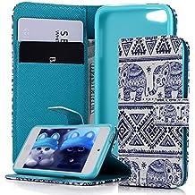 iPod Touch 5 Funda Carcasa PU Cuero - MAXFE.CO Flip case,Cierre magnético,Soporte Plegable,Ranuras de Tarjetas con el Dibujo Pintado de Elefante