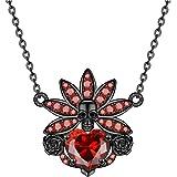 FLIUAOL قلادة الجمجمة السوداء القوطية القلب الكريستال الشرير المعلقات هدايا للنساء