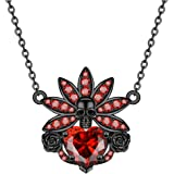 FLIUAOL Gothic Black Skull Necklace Heart Crystal Punk Pendants Gifts for Women