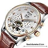 Herren-Automatik-Uhren, Automatische Mechanische Uhren. Leder Lederriemen Design Classic Watch Deluxe Steampunk Skelett Watch (Schwarz/Weiß),White