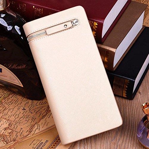 1 x Lange Brieftasche für Männer –PU / Kreditkarten Halter / Faltbarer Geldbörse / Brieftasche / Tasche mit Reißverschluss - Retro Linien & Braun Kreuz Muster & Weiß
