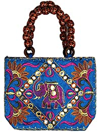 Purpledip traditional Indian Women's Silk Hand Bag with fancy beads(bag02e)