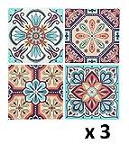Lote de 12 Pegatinas de pared adhesivas - Motivo cuadrados de cemento - Color NARANJA, VERDE y MARRON