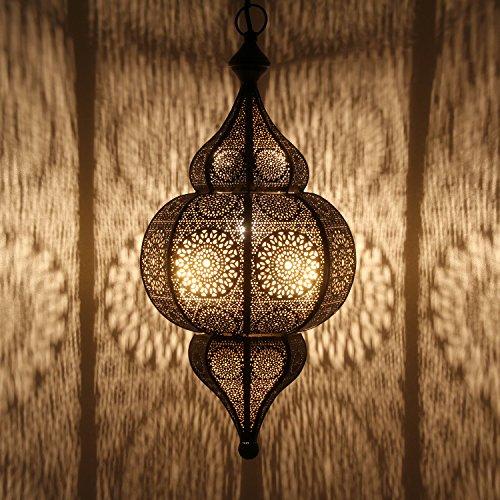 Orientalische Lampe marokkanische Pendelleuchte Moulouk mit E27 Fassung | Prachtvolle Deckenleuchte für tolle Lichteffekte wie aus 1001 Nacht | Echtes Kunsthandwerk