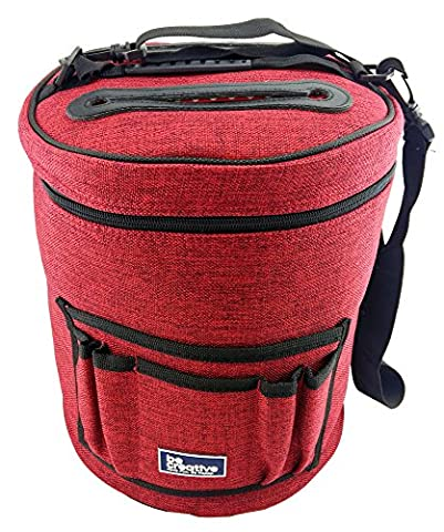Knitting Bag for Yarn and Wool Storage. Portable, Lightweight and Easy to Carry. Knitting or Crochet Yarn Holder with Pockets for Knitting Accessories and Slits on Top to Protect Wool and Prevent Tangling. Ideal
