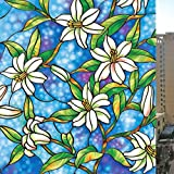 Netspower PVC Fensterfolie Sichtschutzfolie Milchglasfolie Window Film (No Adhesive), Buntglas-Effekt Busko Printed Glass Film European Art Wind Muster 45*200cm(G001)