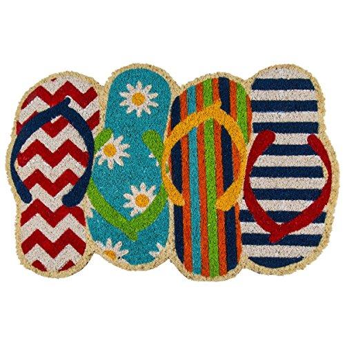 Kokos-Fußmatte mit versetzt angeordneten Zehensandalen, 40 x 60 cm, robuste Kokusfasern zur idealen Schmutz-Aufnahme. Rutschefeste Unterseite. Maritimes Design in abwechslungsreichen, bunten Farben.