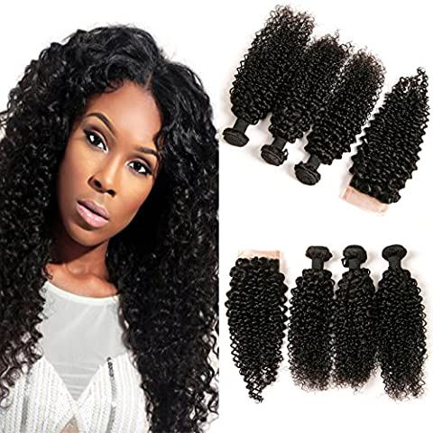 DAIMER Jerry Curly Brazilian with Closure Lace Frontal Free Part Plus 3 Bundles Virgin Human Hair Extension Weave 10a Natural Color 14 16 18 +12 Inches
