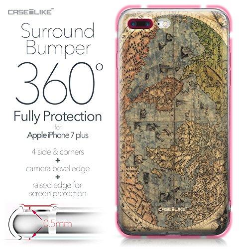 CASEiLIKE iPhone 7 Hülle, iPhone 7 TPU Schutzhülle Tasche Case Cover, Comic Beschriftung 2914, Kratzfest Weich Flexibel Silikon für Apple iPhone 7 Weltkarte Weinlese 4608