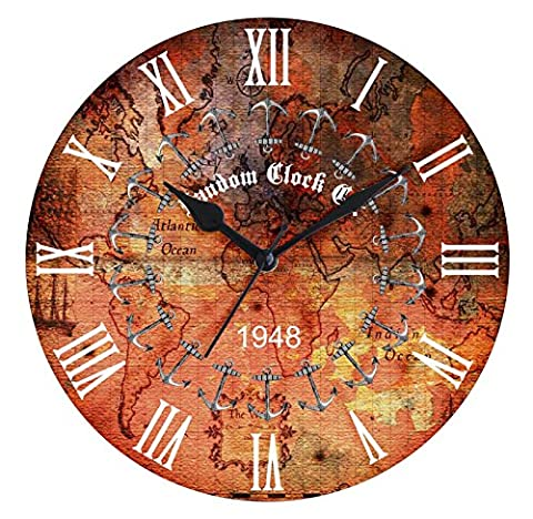 Random Round Anchor Imprimer Vintage Style rustique en bois Horloge