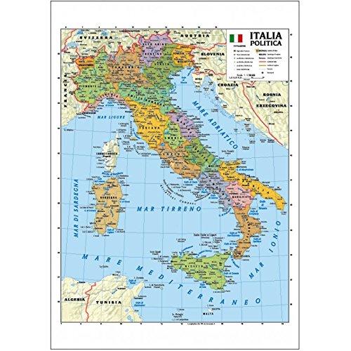 Carta geografica murale Italia 100x140 bifacciale fisica e politica con aste in alluminio