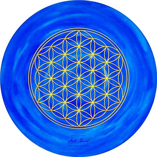 atalantes spirit - Blume des Lebens-Mauspad dunkelblau - Ø 19 cm, rund - Energie-Untersetzer Stirnchakra - MousePad-Unterseite: Moosgummi, schwarz