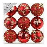 9 Stk. PVC Christbaumkugeln 6cm ( rot) // Ornament Dekor Kunststoff bruchfest Dekokugeln Weihnachtskugeln Baumkugeln Baumschmuck Set Christbaumschmuck Weihnachtsschmuck 60mm