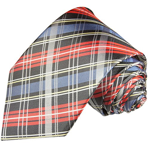 Cravate homme bleu rouge tartan 100% soie