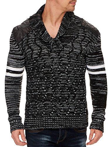 TAZZIO Herren Styler Strick-Pullover 16402 Schwarz