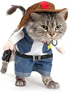 DELIFUR Christmas costumes,The Cowboy for Party Christmas Special Events Costume,West CowBoy Uniform with Hat, Funny Pet Cowboy Outfit Clothing for Dog Cat (S)