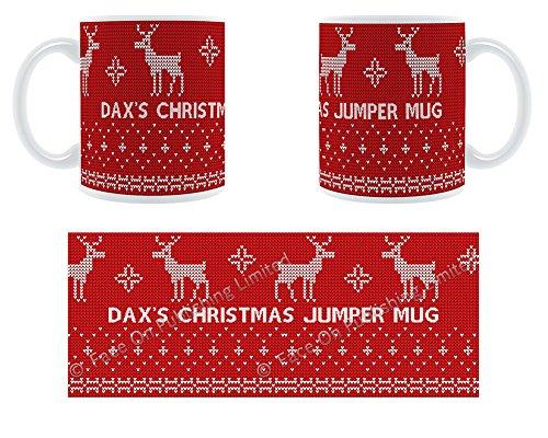 Dax's Tasse Pull de Noël Motif renne Mug en céramique personnalisé Motif Chunky