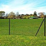 Tidyard Eurozaun-Set Gartenzaun Gitterzaun-Satz Stahl Maschendraht Zaun mit Zaunpfosten Metallzaun Zaunelement Maschenweite 100 x 100 mm Grau 25 x 1,2 m
