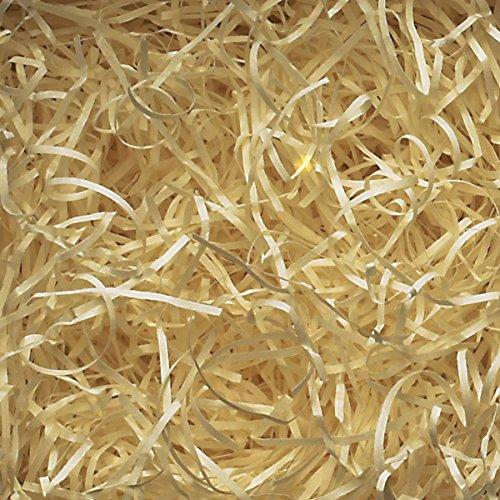 1kg Cremige gelb Geschreddertes Papier für Weihnachten Geschenkkorb Füllen (Kraftpapier-geschenk-korb)