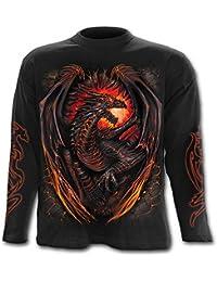 Spiral Dragon Furnace Langarm Shirt, schwarz
