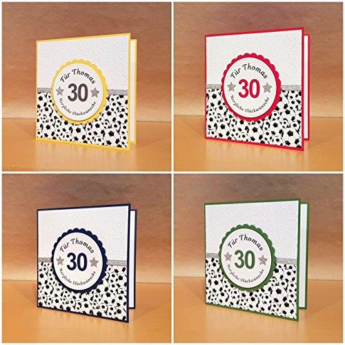 Fußball Geburtstagskarte, Fussball Glückwunschkarte, Karte zum Geburtstag, Farbe, Name u. Zahl personalisierbar, Handarbeit