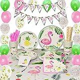 WERNNSAI Flamingo Party Zubehör Set - 169 PCS Tropische Luau Partydekorationen für Mädchen Geburtstag Banner Ballons Bestecktasche Tischdecke Platten Tassen Servietten Strohhalme Utensilien 16 Gäste