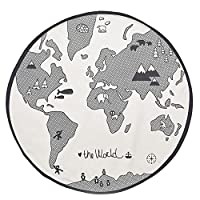 WElinks Baby Crawling Mats, World Map Design Kids Play Mat Kids Rug Playmat Child Game Mats Baby Nursery Round Area Rugs Home Bedroom Living Room Playroom Floor Decoration Carpet Blanket Mats