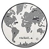 WElinks Krabbelmatten für Babys, Weltkarten-Design, Kinderteppich, Spielteppich, Spielteppich, Kinderzimmer, rund, für Zuhause, Schlafzimmer, Wohnzimmer, Spielzimmer, Boden, Dekoration, Teppich