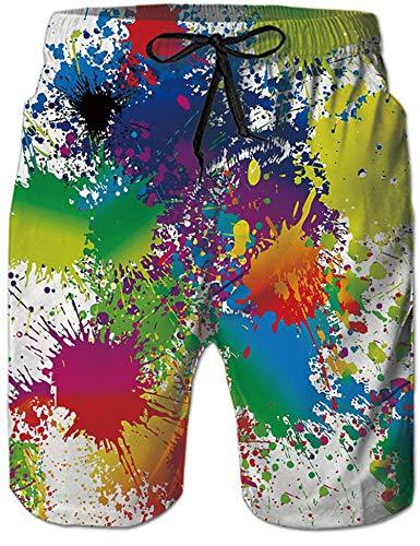 Rave on Friday Swim Shorts Herren 3D Gedruckt Lustige Strand Shorts Splash Boardshorts Hawaii Funky Sporthose Bunte XL