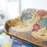 XYSFT Manta de sofá para salón o salón, diseño de jacquard con borlas, Map (Classic Double...