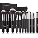 Ducare Makeup Brushes 15 Pcs Professional Foundation Powder Blending With Leather Case Bag