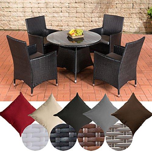 CLP Ensemble Table et chaises de Jardin Sanremo résine tressée, Aluminium, 4 chaises + Table Ronde Ø 100 cm, Coussins Inclus, Couleur de rotin: Noir, Revêtement: Gris métal