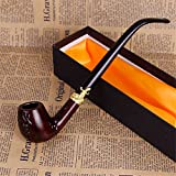 Tubo di tabacco in legno classico fatto a mano fatto a mano classico pipa per tabacco Acrilico titolare di sigaretta, lungo ugello, tubo in resina,un
