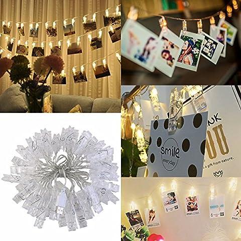 LEDMOMO 40 Foto Clip Lichterkette Weihnachtsbeleuchtung Ideal für Hängende Bilder,Artwork, Memos