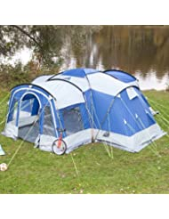 Skandika Nimbus 8 Tente de camping tunnel familiale pour 8 personnes Bleu 615 x 605 cm