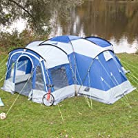 skandika nimbus family group hybrid design tunnel tent, 3 sleeping rooms, moveable front wall, 200 cm peak height, grey/blue, 8-person/large