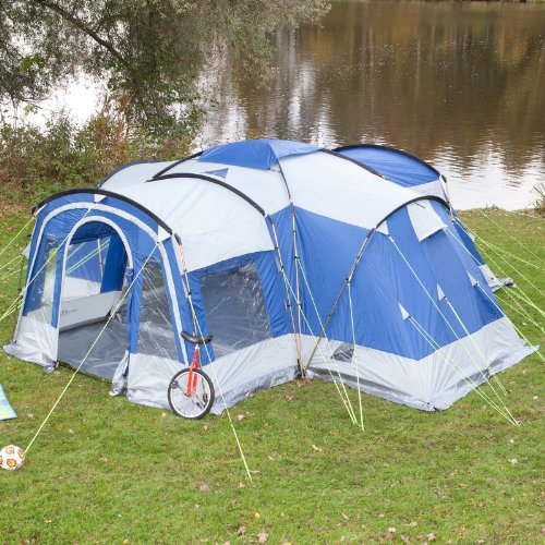 61u6MN5pwaL. SS500  - Skandika Nimbus family Group Hybrid Design Tunnel Tent, 3 Sleeping Rooms, Moveable Front Wall, 200 cm Peak Height, Grey/Blue, 8-Person/Large