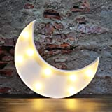 House of Quirk Plastic Battery Operated Nursery Lamp, Moon White, 1 pc