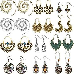 12 Paar Boho Stil Metall Hohl Set Wassertropfen Baumeln Ohrringe Lange Baumeln Ohrringe