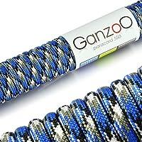 Ganzoo Corde de Parachute indéchirable paracorde 550(Manteau Noyau en Corde en Nylon), 550lbs, Longueur Totale 15m (100ft) Couleur: Bleu/Blanc/Noir–Ganzoo