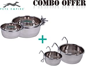 Pets Empire Stainless Steel Birds Feeder Bowl with Clamp Holder, 200 ml Birds Coop Cup Feeder Bowl with Hook Holder, 200 ml