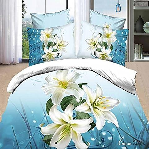 3D Full Baumwolltwill Bettwäsche 4 Stück Hochzeit Doppel stereo Blume aus reiner Baumwolle 4 Stück Doppel Frühjahr und Sommer frische Lily, 1,8 m, 1,8 m (6 ft) Bed