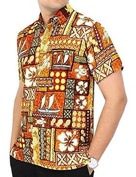 La Leela manga corta formal | camisa de cuello | Blusa Hombre Moda vestir | originales Casual Hawaiana Beach Shirt...