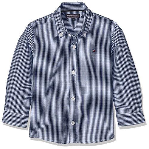 Tommy Hilfiger Jungen Hemd Ame Mini Gingham Shirt L/S, Blau (Blue Depths 406), 152 (Herstellergröße: 12) (Blue Mini Gingham)