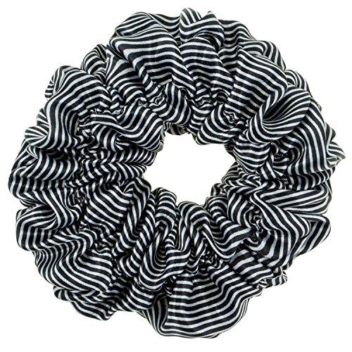 Haarstyling-Haargummi, elastisches Satin-Haarband für Pferdeschwanz, mit schwarzen und weißen Streifen. -