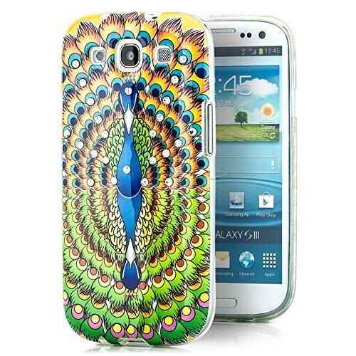Preisvergleich Produktbild Saxonia Schutzhülle Samsung Galaxy S3 Slim Case Hülle Silikon Strass mit Pfau Motiv 05